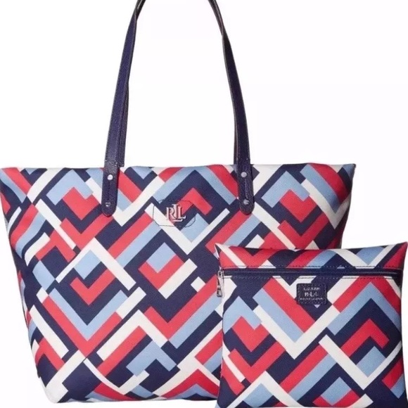 3c70cb02c7 ... bag for women marine abff0 1d5e7  coupon code ralph lauren bainbridge tote  marine geo 128 0e947 95669